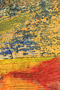 close-up photo of yellow and red painted wall