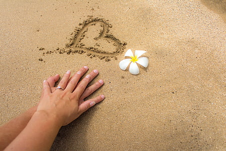 man and woman's hand on white sand with carved heart beside white and yellow plumeria flower