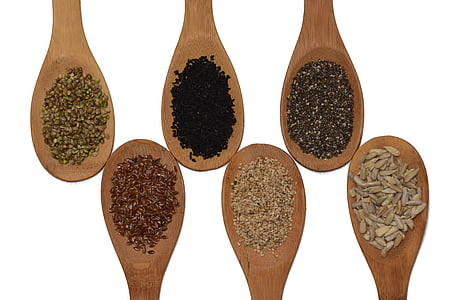 six assorted herbs and spices