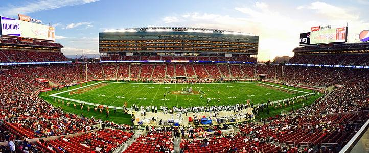 American football stadium field with spectator