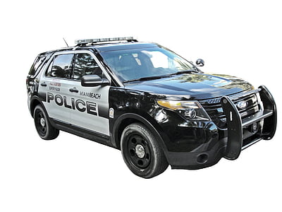 white and black Ford police car