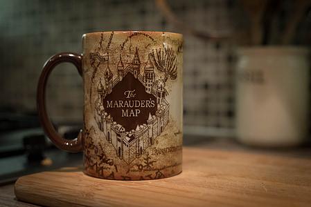 The Marauder's Map printed mug on table