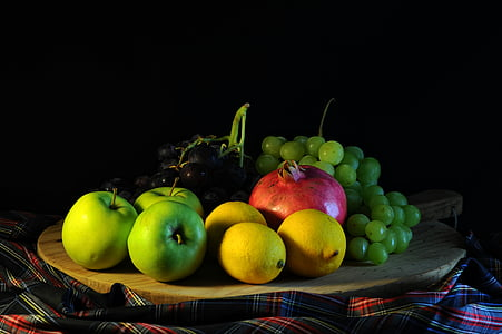 green apples, lemons and grapes fruits