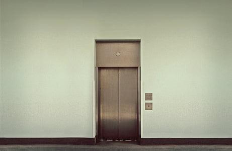 gray steel elevator