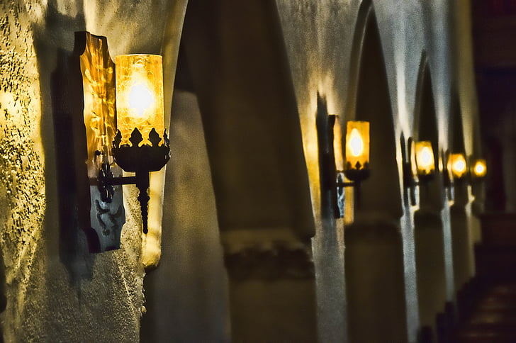 Royalty-Free photo: Lighted wall lights on wall | PickPik