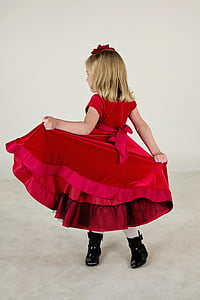 girl's red sleeveless gown