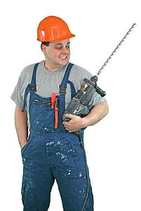 man holding corded power tool