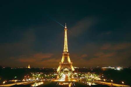 panoramic photography of Eiffel Tower, Paris at night