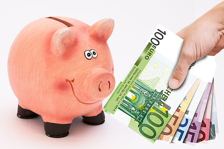 person holding fan of euro banknotes and pig coin bank