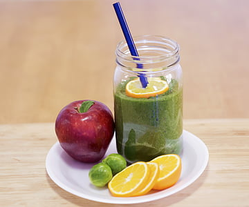 fruit shake on white plate