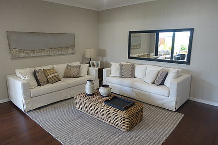 white and brown living room furniture set