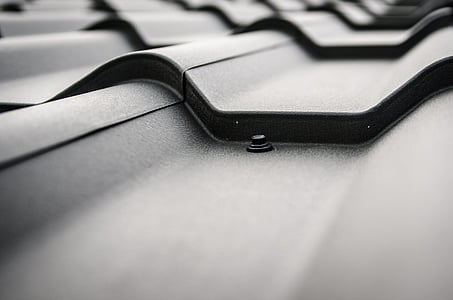 grayscale photography of roof shingles