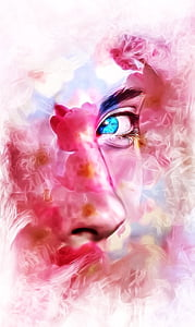 person's face with blue eye painting