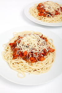 spaghetti on white ceramic plate