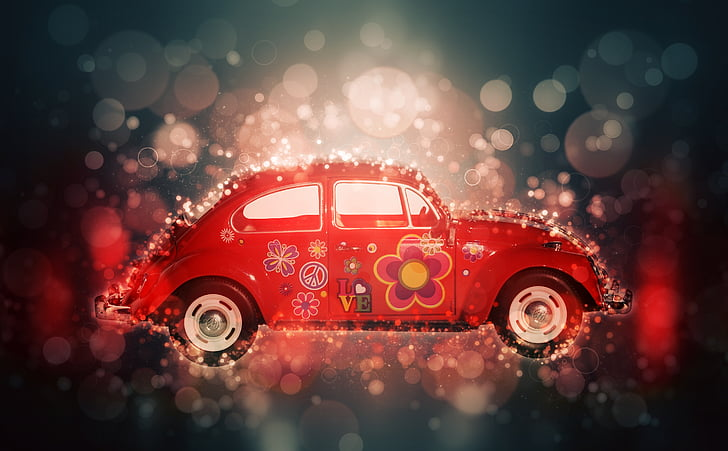 animated photo of red Volkswagen Beetle coupe with gray and red background