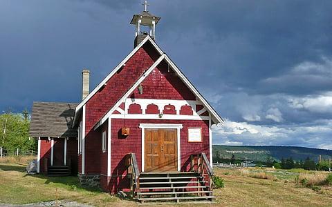 red brick house under dark clouds