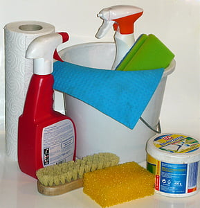 assorted bathroom cleaning equipment set