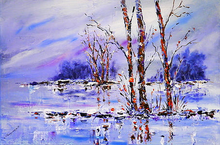 brown bare trees painting