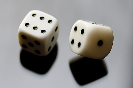 macro photography of two white dices