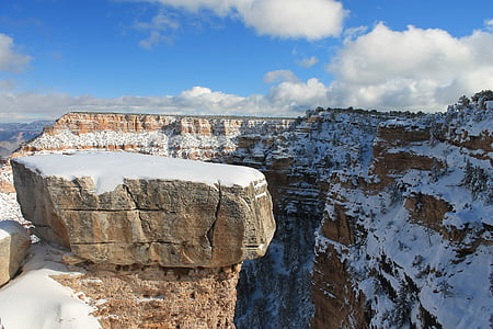 landscape photo of cliff covered with snow