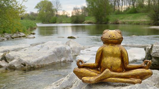 brown frog meditating figurine