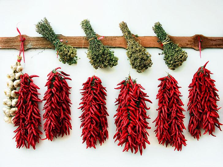 red chili pepper and garlic