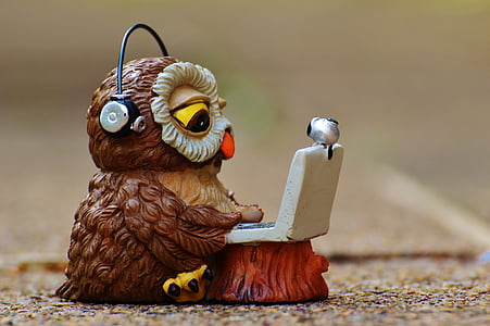 brown and white ceramic owl wearing black headphones figurine