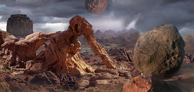brown planet surrounded rocks