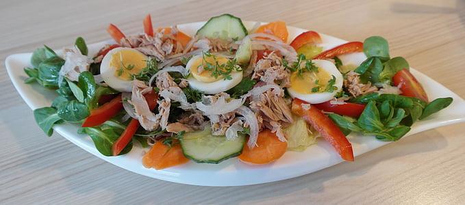 salad on white platter