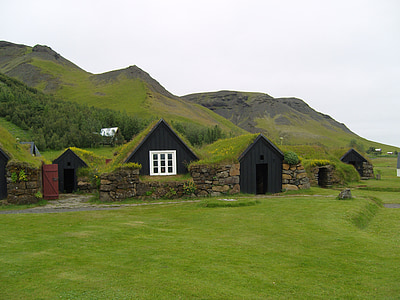 black and white wooden cabins covered with grasses