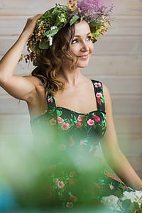 girl, mood, sun, spring, wreath, smile