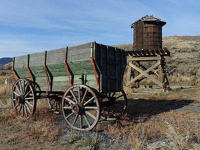 green wooden carriage on brown grassland