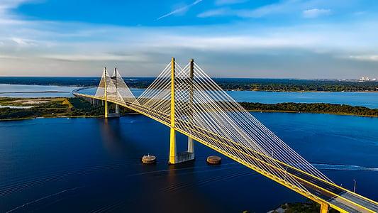 yellow steel bridge on body of water