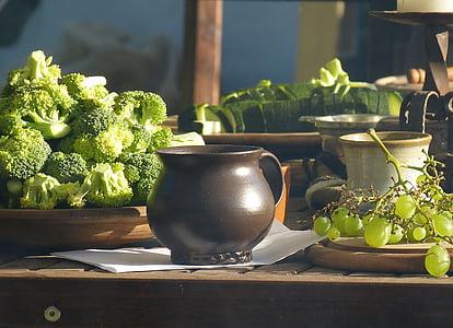 table, ceramic, food, krug, broccoli, vegetables