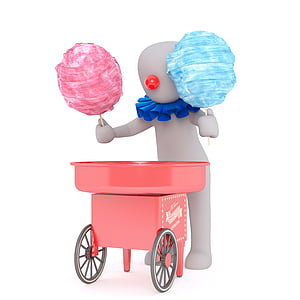 clown holding cotton candies illustration