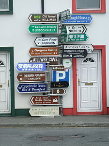 assorted signs beside door