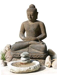 black concrete Buddha statue