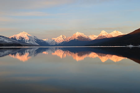 mountain range with snow and lake panoramic view