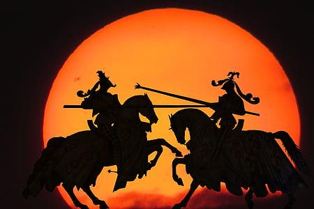 two men on horse silhouette digital wallpaper