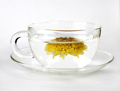 clear glass teacup with saucer