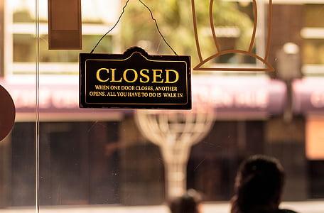 black closed sign