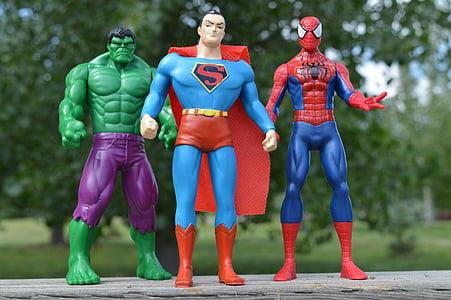 superheroes, incredible hulk, superman, spiderman, comics, heroes
