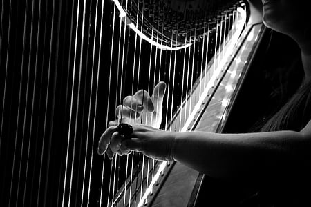grayscale photo of person playing harp