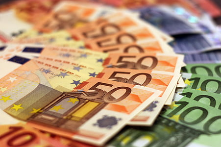 assorted fans of Euro banknotes