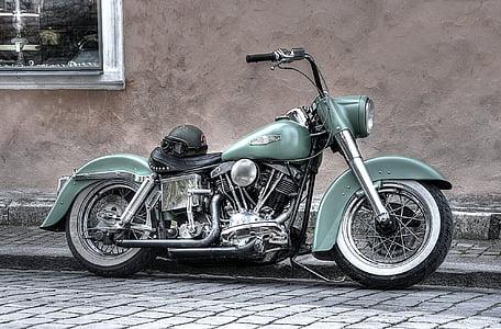 green chopper motorcycle