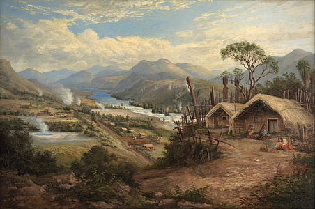 people living on brown shacks above hill painting