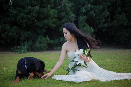 woman wearing tube dress beside Rottweiler dog