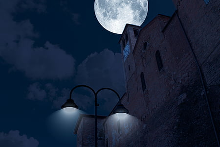 night, luna, sky, full moon, clouds, flare