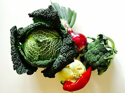 broccoli together with red bell pepper photography