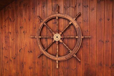 brown wooden ship wheel wall decor